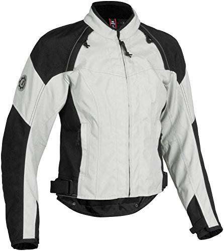 Firstgear Contour Tex Women's Textile Street Racing Motorcycle Jacket - Silver/Black / Small (Apparel Firstgear Motorcycle)