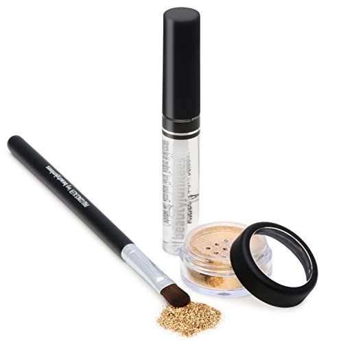 Golden Glitz Gold Cosmetic Grade Loose Glitter Makeup Kit with Brush and Glue, Extra Fine, Safe for Eyes, Face, Skin, All Over Body, Paraben Free, Gluten Free, Cruelty Free, Made ()