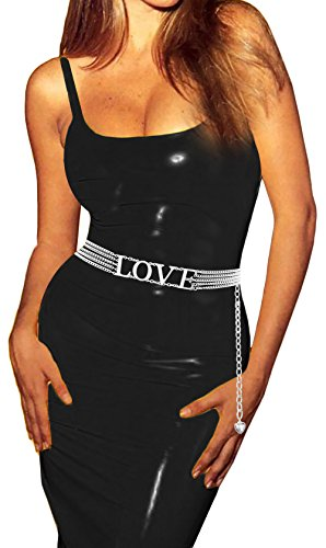 Love Belt (Luna Sosano Womens Chain Belt - Type 67 - Love - Silver)