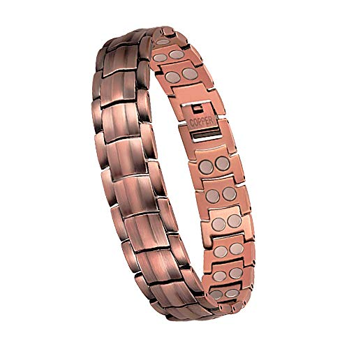 eDecor Copper Bracelets for Arthritis Guaranteed 99.9% Pure Copper Magnetic Therapy Bracelet for Men Pain Relief for Carpal Tunnel with Double Row Magnets