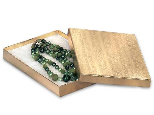 7x5x1-1/4 Gold Foil Jewelry Box w/ Non-tarnish Cotton (Unit Pack - 100)