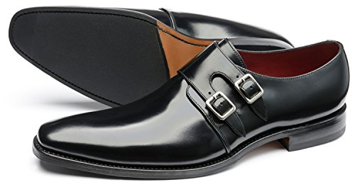 Loake Men's Mercer Double Buckle Leather Monk Shoes Black 44BcQz