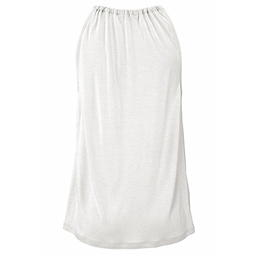 Womens Solid High Neck Vest Top Summer Sleeveless T Shirt Blouse Casual Hollow Tank Tops(White,L) by WYTong Clearance! (Image #3)