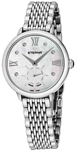Eterna 'Lady Eterna' Womens Diamond Watch - 34mm Mother of Pearl Face with Small Second and Sapphire Crystal - Stainless Steel Band Swiss Made Analog Quartz Ladies Dress Watch 2801.41.66.1743 ()