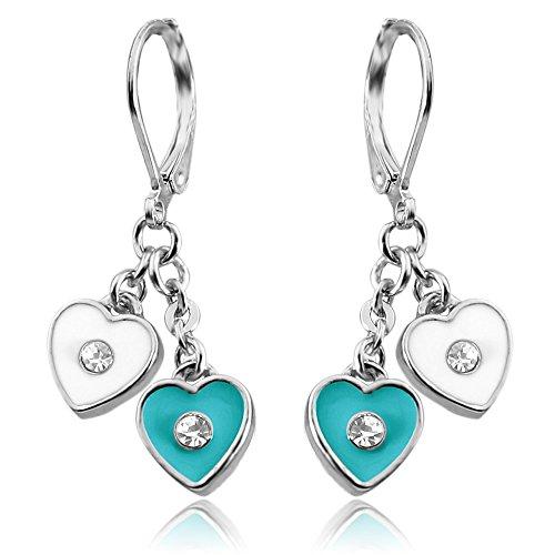 Double Heart Hoop Earrings For Girls | Nickel Free Earrings For Little Girls With Dangle Hearts Silver Tone Rhodium Plated Leverback Earrings for Girls | Childrens Earrings | Nickel Free Earrings (Earrings Leverback Heart Childrens)
