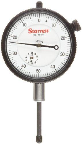 "Starrett 81-131J Dial Indicator, 0.375"" Stem Dia., Lug-on-Center Back, White Dial, 0-25-0 Reading, 1.6875"" Dial Dia., 0-0.125"" Range, 0.0005"" Graduation"