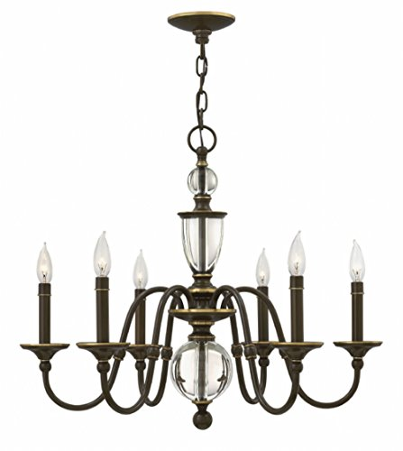 Classic Oiled Bronze Chandelier - Hinkley 4956LZ Traditional Six Light Chandelier from Eleanor collection in Bronze/Darkfinish,