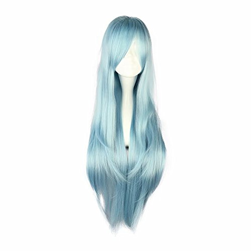 NiceLisa Girls Long Straight Blue Halloween Anime Comic Cosplay Costume Synthetic Halloween Wigs ()