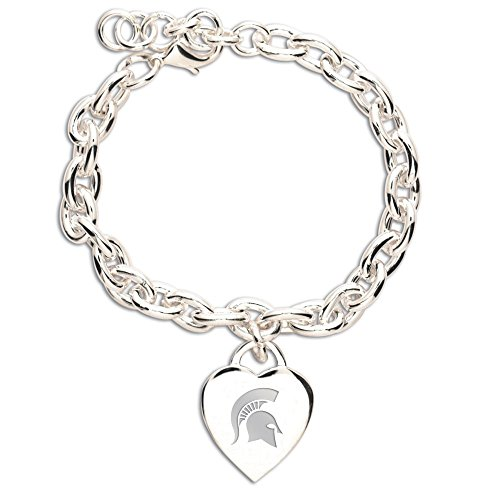 WinCraft NCAA Michigan State University Carded Heart Charm Bracelet Jewelry