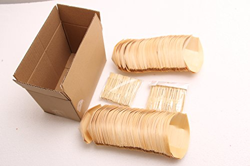 Bamboo Wooden Boat 200 Packs with 200 pcs Bamboo Stickers 4 Inches