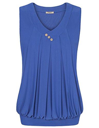Banded Bottom Tank Tops,Timeson V neck Sleeveless Button Vintage Basic Blouse Shirts Blue Large