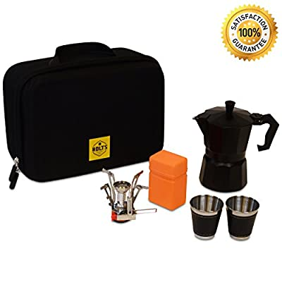 Compact Portable Coffee Maker Kit for Coffee Lovers – Camping Gear Gourmet Coffee Set for Hiking, Backpacking, Outdoor, Off Road – Italian Coffee Machine, Propane Burner, 2 Coffee Cups,Travel Bag. from BOLTS