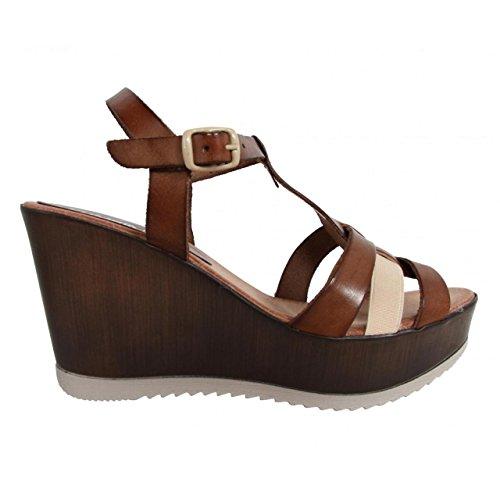 Chaussures compensées pour Femme CUMBIA 30124 R1 BEIG-MARRON