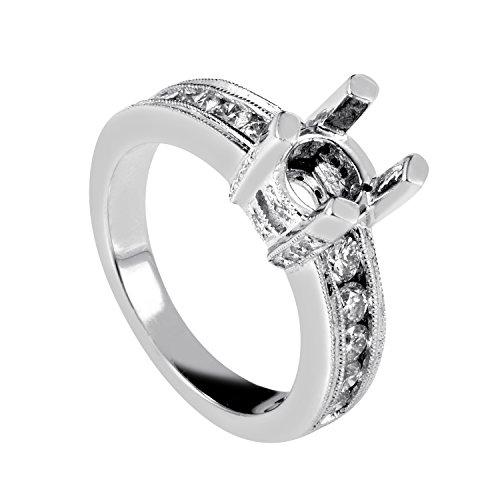 Diamond Gold Mounting (Natalie K Women's 14K White Gold Diamond Engagement Ring Mounting SM4082000W)