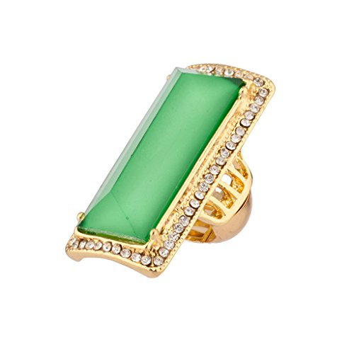 Lux Accessories Lime Green Pave Crystal Cocktail Stretch Ring (Stone Cocktail Green Ring)