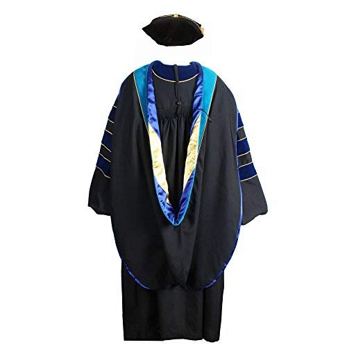 GraduationService Deluxe Doctoral Graduation Gown,Phd Hood and 8-Side Tam Package Deepskyblue