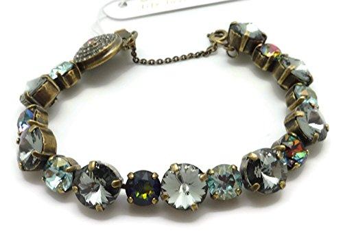(SORRELLI Crystal Patina Grey & Blue Mix Antique Goldtone Crystal Bracelet )