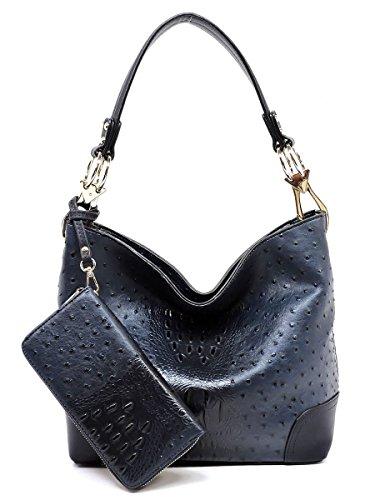 Large Leather Patent Hobo (Elphis Ostrich Croc Classic Shoulder Bag Hobo Bucket Bag 2-in-1 Handbag & Wallet Set (Navy))