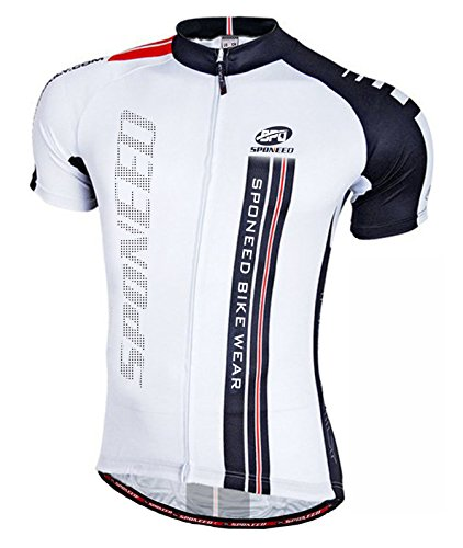 Sponeed Men s Cycling Jersey Shorts Sleeve Bicycle Shirt Pockets Bike Shirt Asia L/US M White