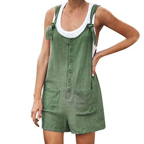 DONTAL Women Casual Button Pocket Jumsuit Linen Vintage Shift Spaghetti-Strap Rompers Army ()