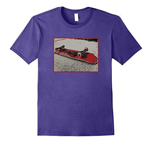 Womens Flipped Skateboard T-Shirt Red Graphic Medium Purple