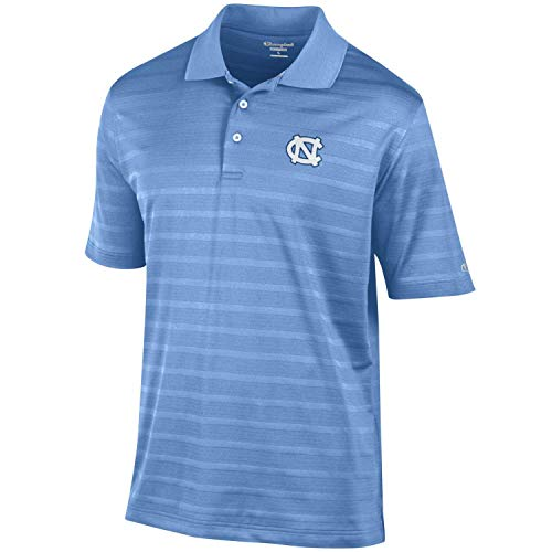 Champion Men's NCAA Textured Stripe Performance Golf Polo-North Carolina Tar Heels-Carolina Blue-XL ()