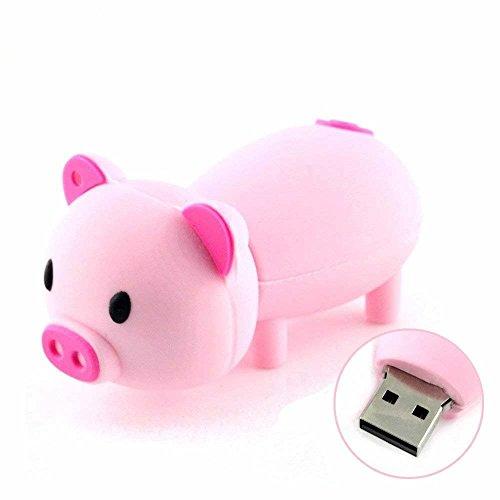 Novelty Pink Piggy Shape Design 32GB USB 2.0 Flash Drive Cute Memory Stick Thumb Drive Data Storage Pendrive Cartoon Jump Drive Gift (Pig Drive Flash)