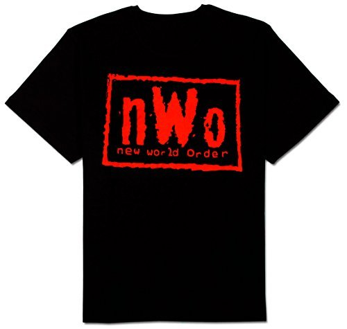 NWO New World Order Red Ink Adult Black T-Shirt (X-Large)