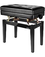 Neewer NW-007 Justerbar lyxig vadderad pianobänk – läderpall med förvaringsfack, massivt hårt träkonstruktion med lastkapacitet upp till 250 pund/110 kg (svart)