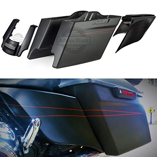 Us Stock Denim/Matte Black 4 1/2 inch Extended Stretched Hard Bags with Side Covers & Fender Extension Fit for Harley Touring Street Glide Special Road Glide 2014-2019