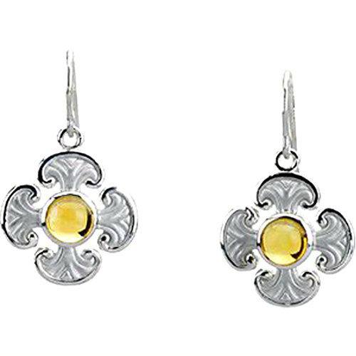 Citrine Cabochon Cross Earrings, 14k White Gold by The Men's Jewelry Store (for HER)