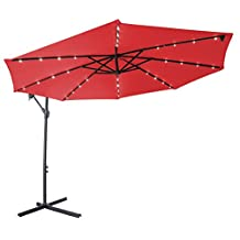Deluxe Polyester Offset Patio Umbrella with LED lights - 10' - by Trademark Innovations (Red)