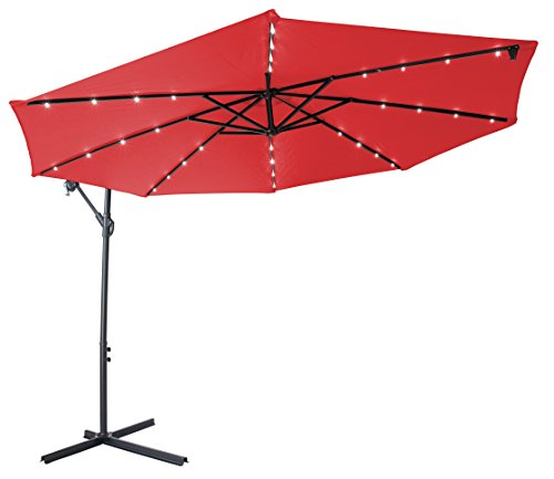 Deluxe Polyester Offset Patio Umbrella with LED lights - 10'