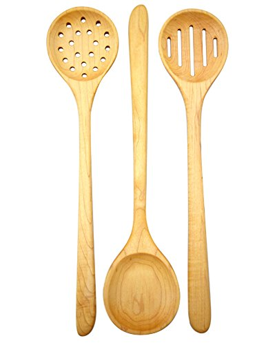 American Made Hard Maple Wood Long-Handled Cooking/Mixing/Stirring Spoons, 15