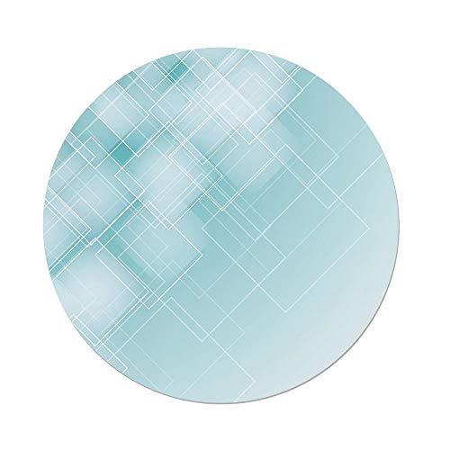 (Polyester Round Tablecloth,Aqua,Abstract Transparent Rhombus Rectangular Geometrical Lines Image Decorative,Blue Light Blue and Turquoise,Dining Room Kitchen Picnic Table Cloth Cover,for Outdoor Indo)