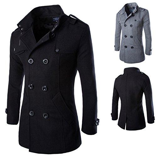 Uomini Autunno Inverno doppia fila tasto di collare di lana del cappotto   Amazon.it  Abbigliamento 8a7ee7c6f08