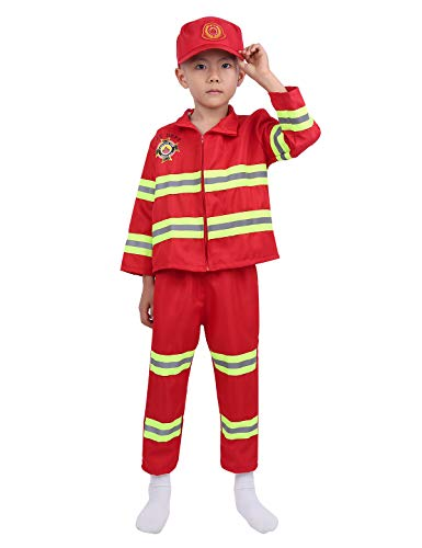 Yeahdor Firefighter Children's Halloween Dress Up Theme Party Role Play Costumes Kids Boys Girls Fireman Outfit Red 8-10 ()