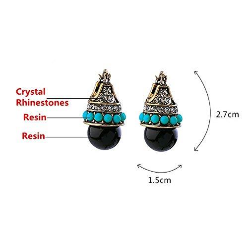 1Pair Jewelry Bohemia Resin Ear Studs Crystal Rhinestones Round Bead Earrings