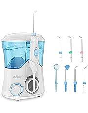 Apiker Oral Elektrische monddouche, professionele waterflosser met traploze waterdruk-instelling, waterreservoir van 600 ml, 8 verschillende functionele sproeiers voor tandverzorging en tandreiniging van het gezin
