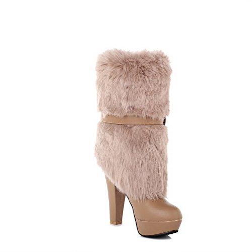 AgooLar Damen Ziehen auf Hoher Absatz Blend-Materialien Niedrig-Spitze Stiefel mit Schleife Braun