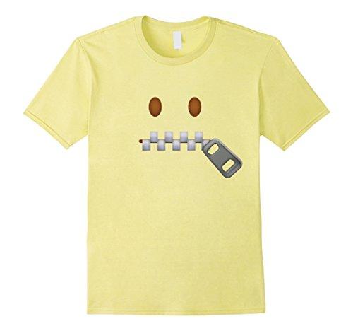 Zipper Face Halloween Costumes (Mens Zipper-Mouth Face Emoji Costume T-Shirt for Halloween Large Lemon)