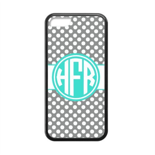 Silver Polka Dot Circle Monogram Personalized APPLE IPHONE 5C Best Durable PVC Cover Case Custom Color and Text, Cute Fashion Designer Print Durable Heavy Protection Monogrammed