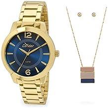 Relógio Feminino Condor Analógico Com Kit Colar E Brincos Co2035Kqe/K4A Dourado