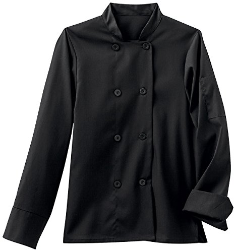 Five Star Chef Apparel Ladies 8 Button Jacket (Black, Small) by Five Star Chef Apparel
