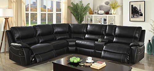 Outstanding Amazon Com Nena Ectional Top Grain Leather Match Black Alphanode Cool Chair Designs And Ideas Alphanodeonline