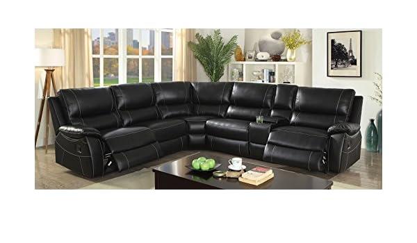 Amazon.com: NENA ectional Top Grain Leather Match Black ...