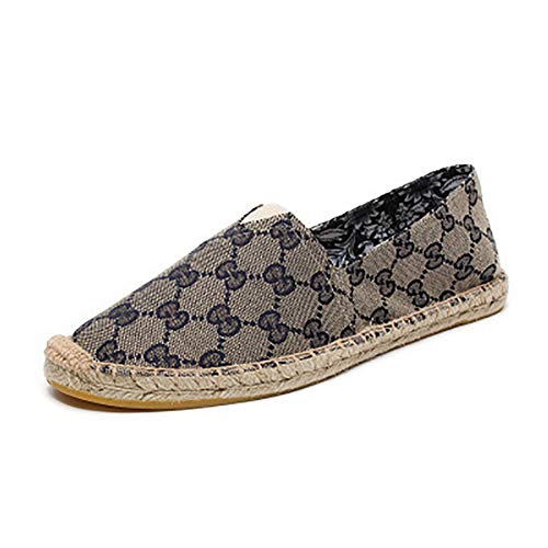 cc5d3508aeced V-DOTE Women's Ladies Canvas Flat Espadrilles Slip On Casual Loafers Flats  Shoes Low Top Laceless Fashion Sneakers Printed Grey Size 9
