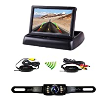 Podofo 4.3 Inch Foldable Car TFT LCD Monitor Wireless Backup Camera License Plate Reverse Rear View Parking System Set