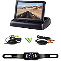 Podofo 4.3 Foldable Car TFT LCD Monitor Wireless Backup Camera License Plate Reverse Rear View Parking System Set