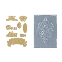 Sizzix 8-Pack Framelits Textured Impressions Ornament Set Scrapbooking Die Cut by Rachael Bright